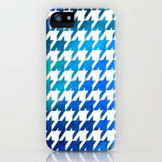 Houndstooth bright blue watercolor iPhone (5, 5s) Slim Case