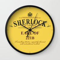 221b Wall Clocks featuring Earl of 221B by Barn Bocock