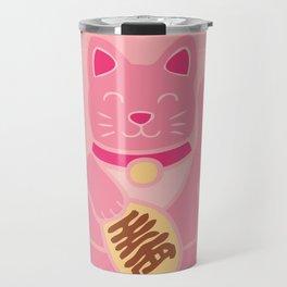 Lucky Cat in Pastel Pink Travel Mug