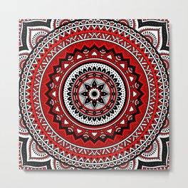 Red and Black Mandala Metal Print