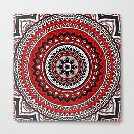 Red and Black Mandala Metal Print