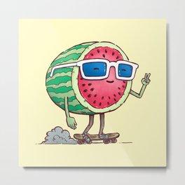 Watermelon Skater Metal Print