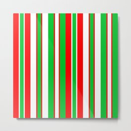Christmas holiday stripes red white green pattern Metal Print