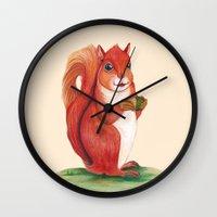 squirrel Wall Clocks featuring Squirrel by Yana Elkassova