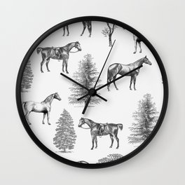 HORSES &TREES Black and white pattern  Wall Clock