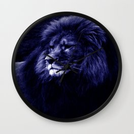 Indigo Blue Lion. Wall Clock