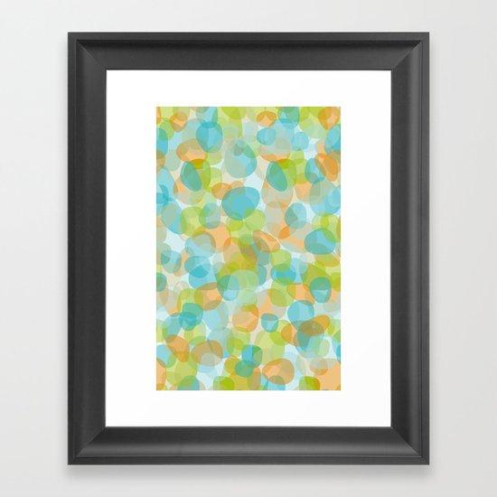 Pebbles Turquoise Framed Art Print