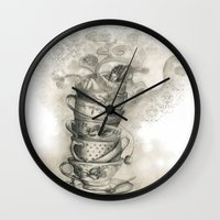 bath Wall Clocks featuring Tea bath by Julia Kisselmann