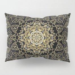 Bohemian Gold Brushed Mandala design Pillow Sham