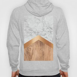 Arrows - White Marble, Rose Gold & Wood #924 Hoody
