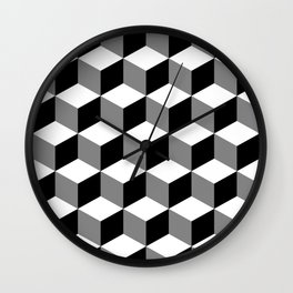 Cube Pattern Black White Grey Wall Clock