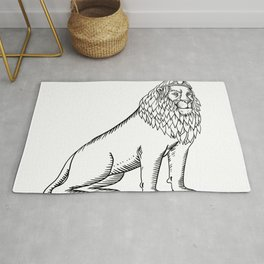 Etching style illustration of a blue male lion with red mane wearing a tiara or crown sitting down d Rug