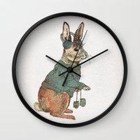 rabbit Wall Clocks featuring Rabbit by David Fleck