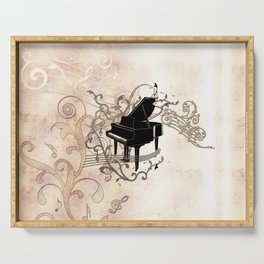 Music, piano with key notes and clef Serving Tray