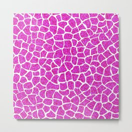 Pink Glitter Giraffe Print Metal Print