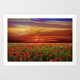 Red Poppy Meadows | Oil Painting Art Print