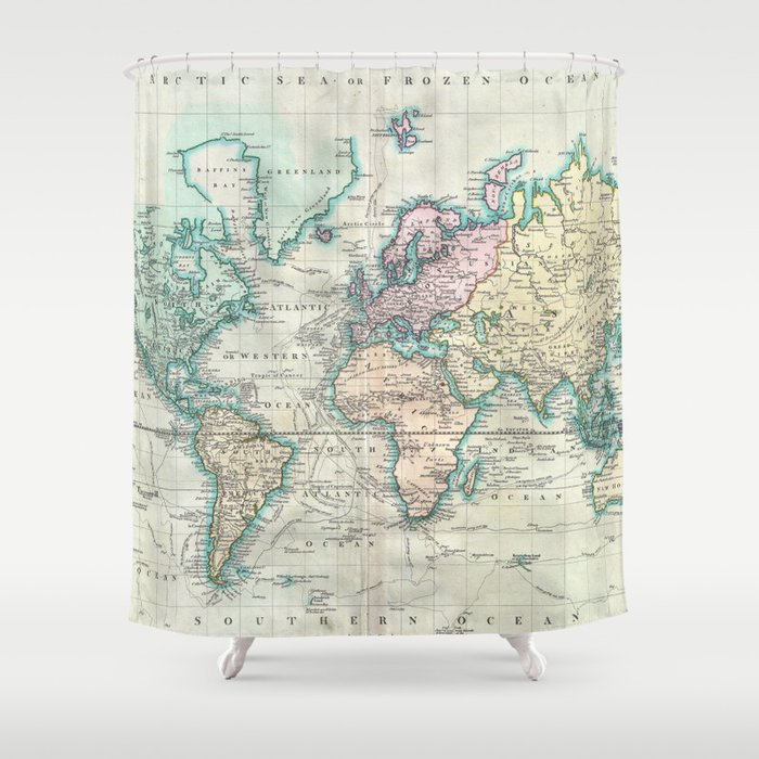 vintage map of the world 1801 shower curtain
