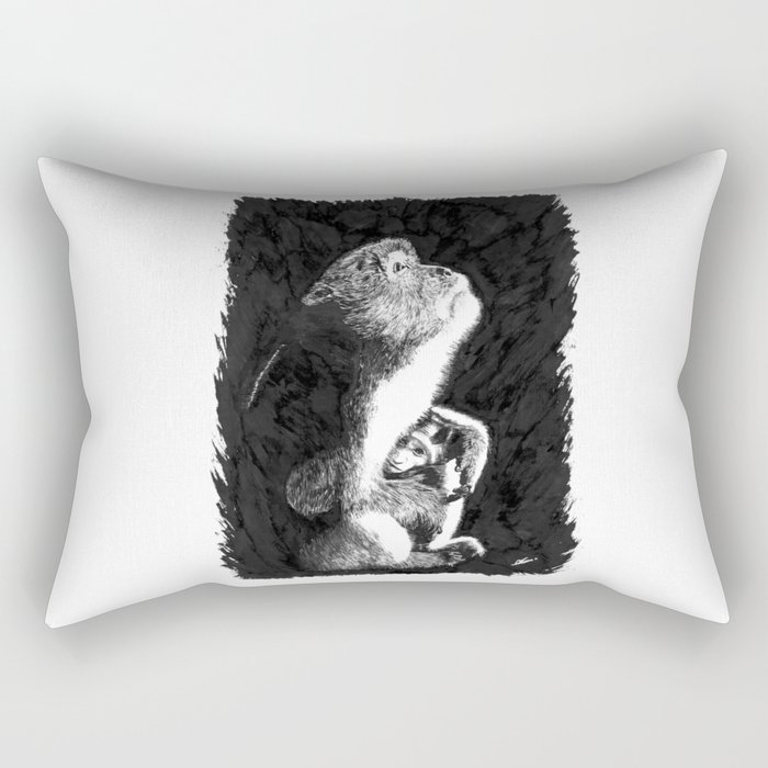 Macaque Rectangular Pillow