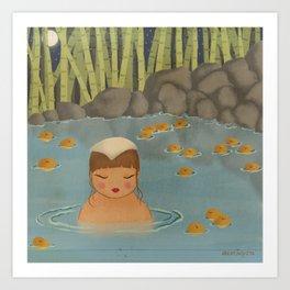 Girl in oranges hot spring bath Art Print