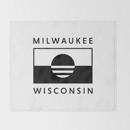 Milwaukee Wisconsin - White - People's Flag of Milwaukee Throw Blanket