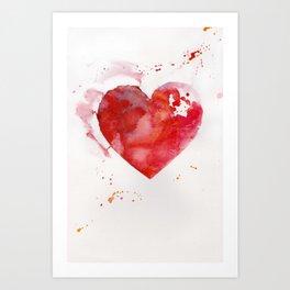 Red heart in watercolor Art Print