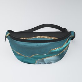 Dreams - Teal and Gold Metallic Agate  Fanny Pack