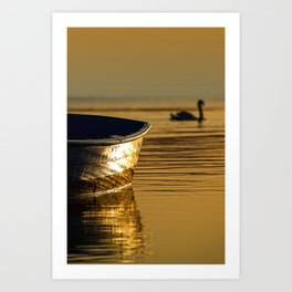 Rowing boat and swan sunset reflections Art Print