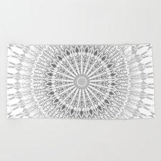 Gray White Mandala Beach Towel