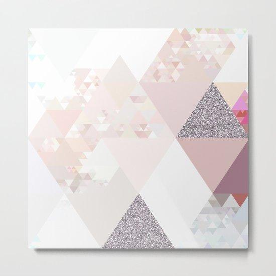 Triangles in glittering Rose quartz - pink glitter triangle pattern Metal Print