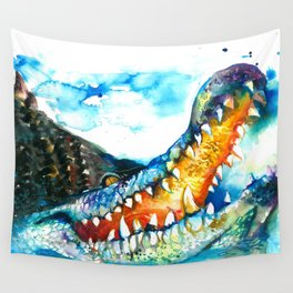 Crocodile Watercolor Painting Wall Tapestry