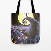 nightmare before christmas Tote Bags featuring Nightmare Before Christmas by Leslie Creveling