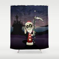 santa Shower Curtains featuring Santa Death by mangulica