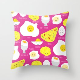Happy Eggs Throw Pillow