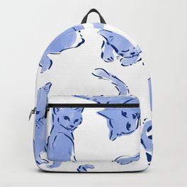 Cat Crazy blue white Backpack