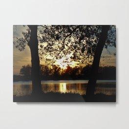 Kansas Golden Sunset Reflection Metal Print