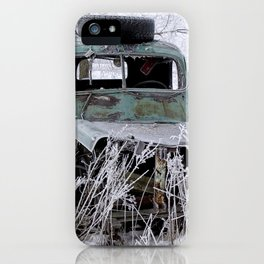 Saranac Cities Service Truck in the Hoar Frost of Winter iPhone Case