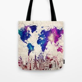 world map city skyline galaxy 2 Tote Bag