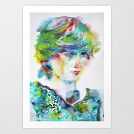 DIANA - PRINCESS of WALES - watercolor portrait Art Print