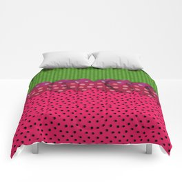 """Spring and summer strawberries paper"" Comforters"