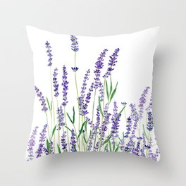 lavender watercolor horizontal Throw Pillow