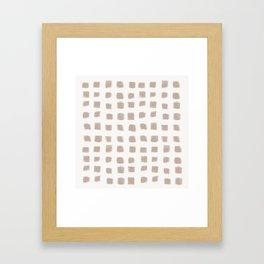 Polka Strokes - Nude on Off White Framed Art Print