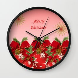Merry Christmas - Red Wall Clock