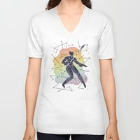 rainbow V-neck T-shirts featuring Rainbow Warrior by LordofMasks