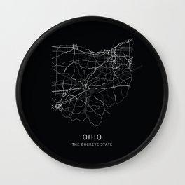 Ohio State Road Map Wall Clock
