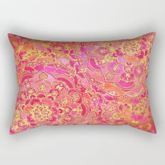 Hot Pink and Gold Baroque Floral Pattern Rectangular Pillow