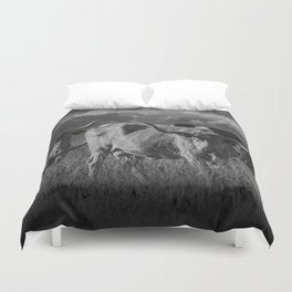 Texas Longhorn Steers under a Cloudy Sky in Black & White Duvet Cover