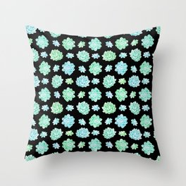 Modern black teal turquoise trendy cactus floral pattern Throw Pillow