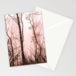 Foggy morning in the forest Stationery Cards