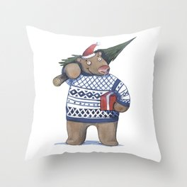 Bear with new year tree Throw Pillow