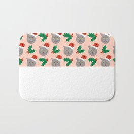 Christmas Cat holly and ivy cute funny cat gift idea for grey cat owner cat lovers everywhere purrin Bath Mat